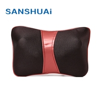 Leather car seat neck and back lumbar vibrate massage cushion changeable