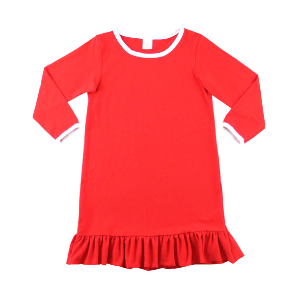 2017 design fashion formal dress red ruffle children dress new year girls dress