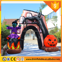 390cm/13ft tall Halloween arch inflatable, haunted house and witch & dead tree yard decoration