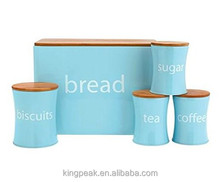 2017 Hot New Bread Bin Biscuit Tea Coffee Sugar Jar set /Bread box Tea coffee cookies canister set with chopping board lid