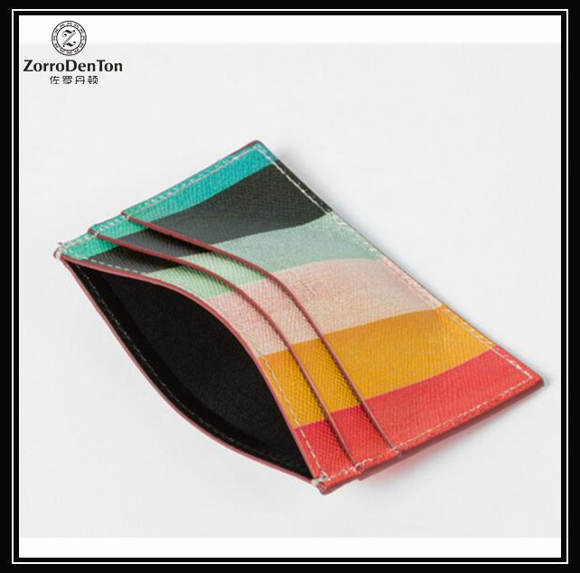 portable stripe leather card holder with 3card slots