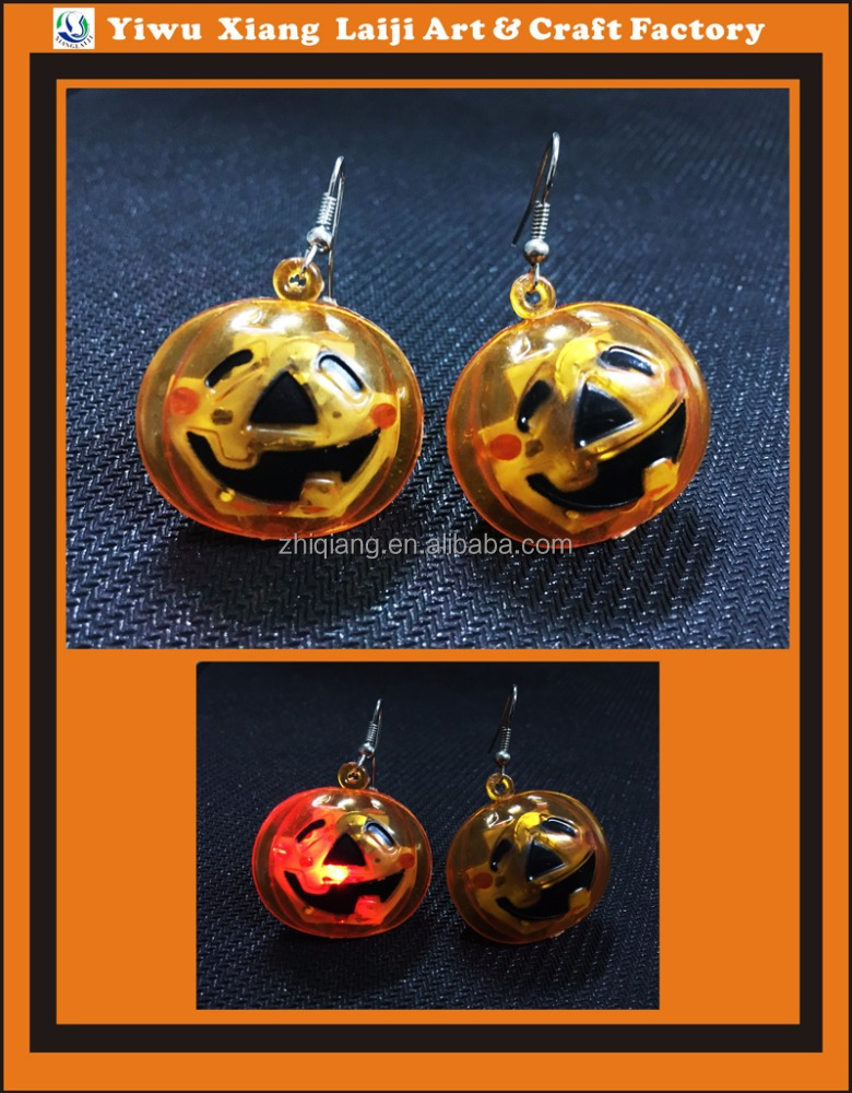 HALLOWEEN pumpkin and skull led flashing earrings