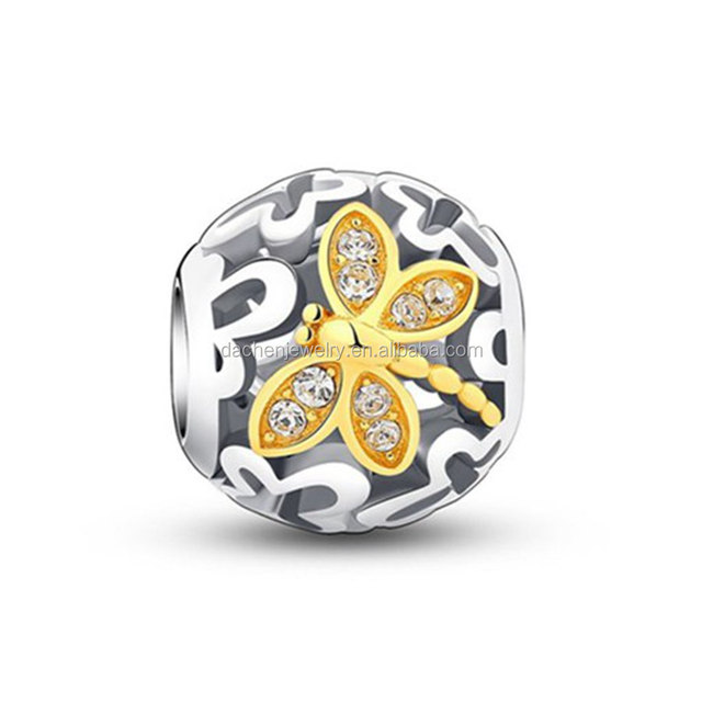 Fashion 925 sterling silver hollow Circle charm beads with Dragonfly for european bracelet