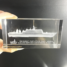 Top quality customized souvenir items, handmade boats ships 3D laser engraving crystal cube