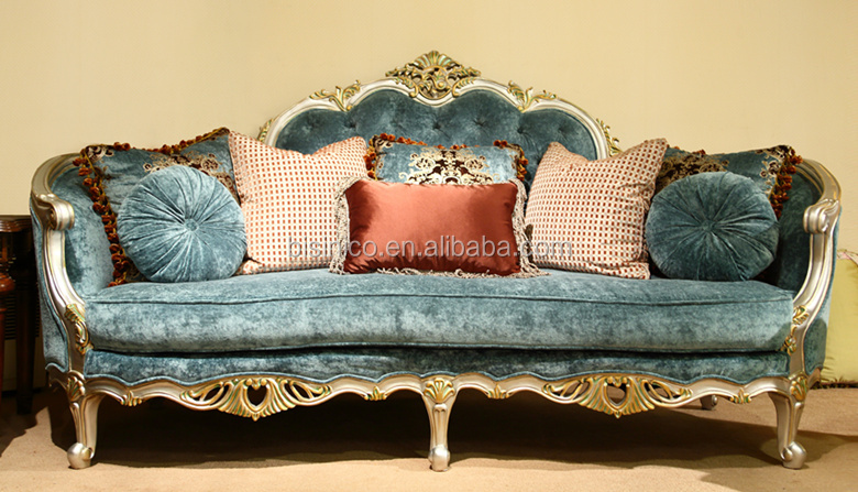 European Style Noble Solid Wood Carving Living Room Sofa Set With Tassel/ Antique American Elegant Fabric Sofa Couch