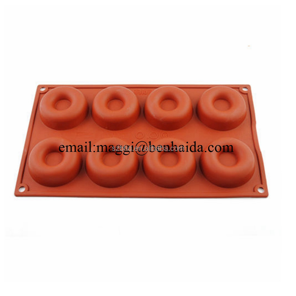 Nontoxic Handmade Cake Mold 8 Cups Round Silicone Donut Baking Molds Cake Pan Muffin Pan