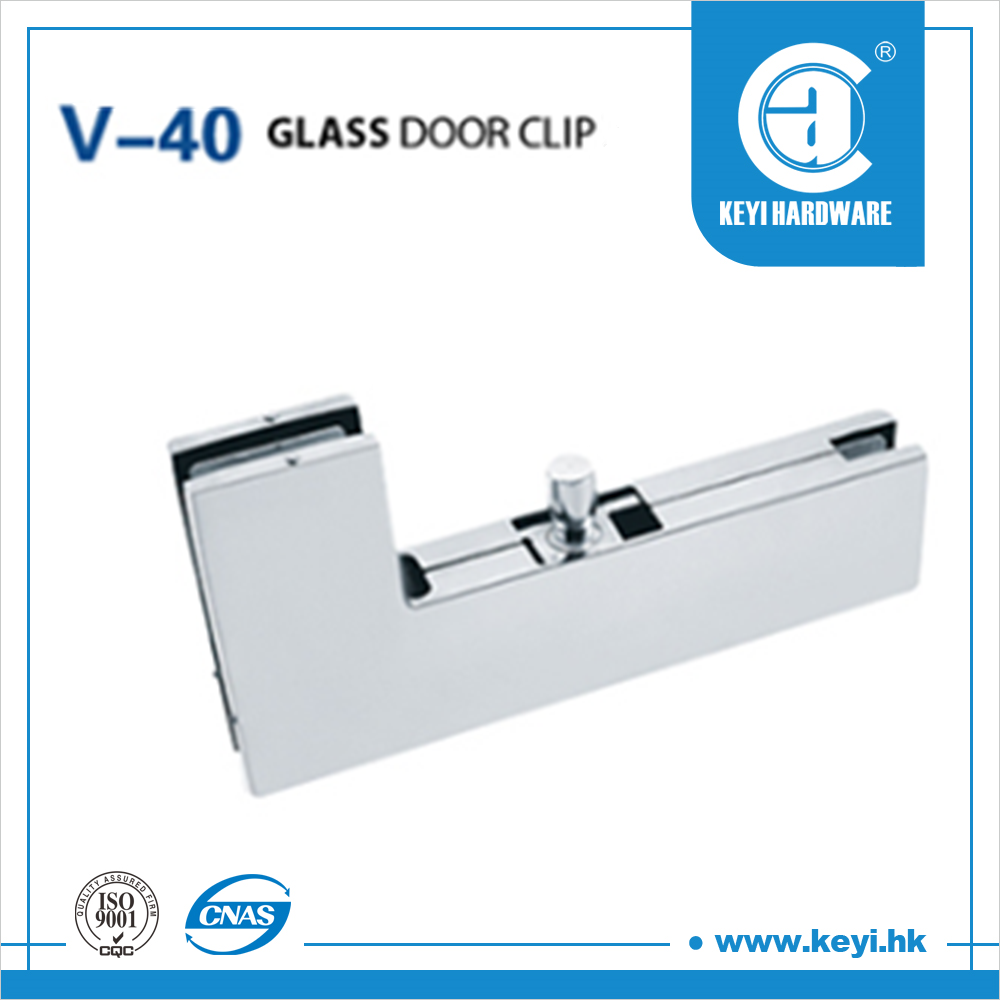 stainless steel high quality V-40 glass door clip frame finish light
