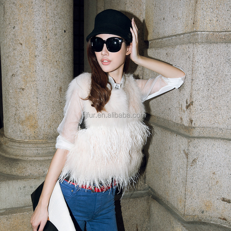 Stylish Fox Fur and Mongolian Sheep Fur Tassel Waistcoat Animal Fur Ladies Vest