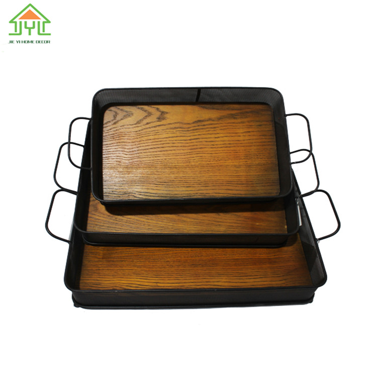 Custom rectangular wired tray with mental ear handle, cheap willow tray,beautiful storage tray