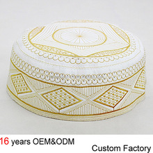 High quality embroidered Muslim Kufi Prayer Cap Hat Islamic Kufi Hat