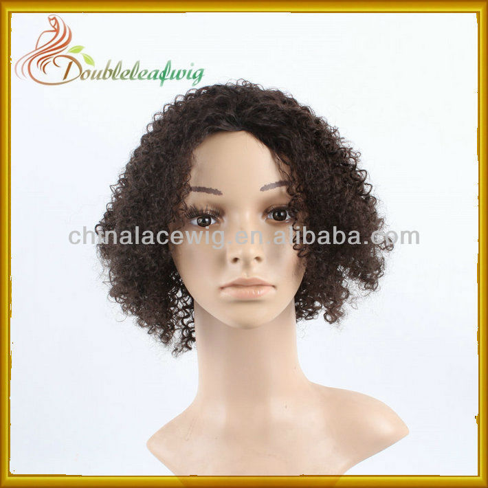 stock human hair machine -made wig natural afro curl for black women/men