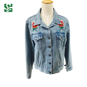 Fashion Style Embroidered Flower Jean Jacket Woman Spring Denim Coat