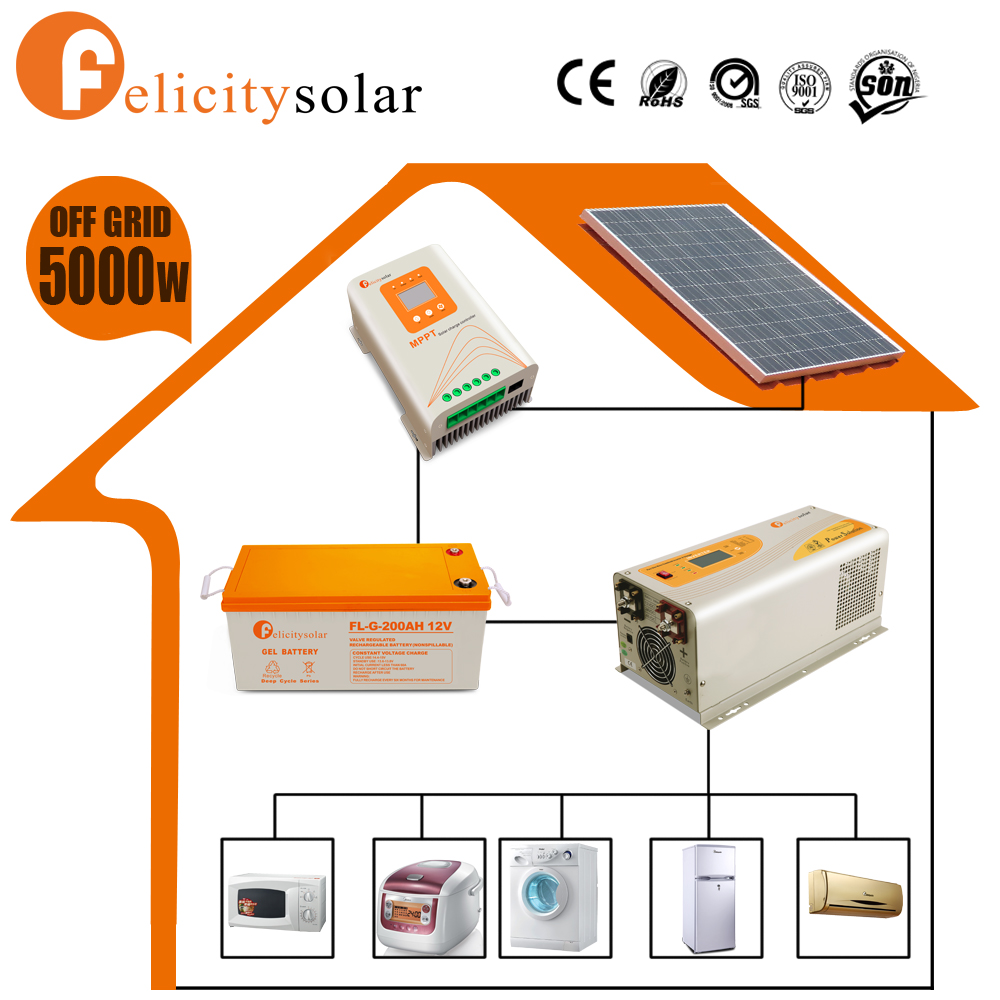 Factory sell long lifetime complete off grid solar power system home 5kw for agricultural