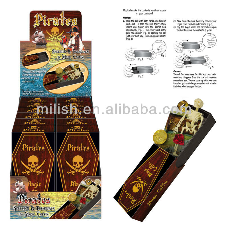 Wholesale Pirate Party supplies Halloween kids toy skeleton & treasures in magic coffin HH-0287
