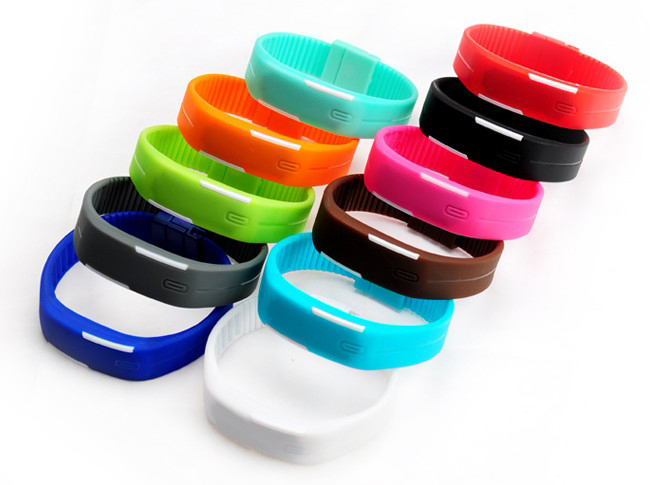 Hole sale silicone rubber led watch sport wrist watch