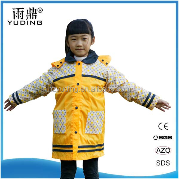 OEM breathable durable polyester children rain coat with cape