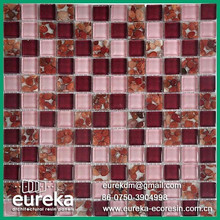 Brushed mixed material stainless steel mix glass mosaic tile
