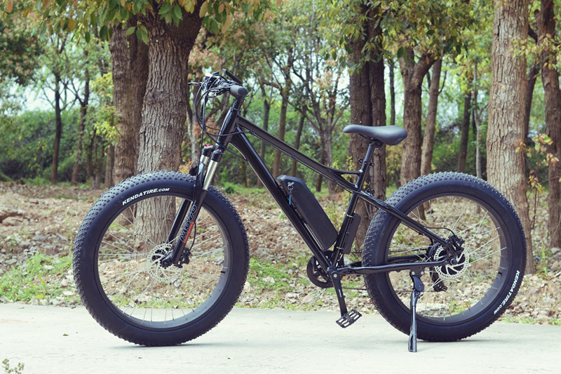 Flat black Modern Electric fat bike, mountain E cycle