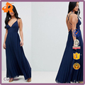 custom made navy blue everning sexy cami pleated maxi dress with strappy back