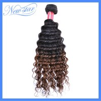 New Star 6A two tone ombre T1b/4 brazilian deep wave machine weft weaving styling human hair