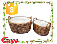 wicker basket, Set of 2 willow basket,basket with handle and liner