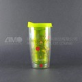 450ml Reusable double wall coffee cup, plastic cup with lid
