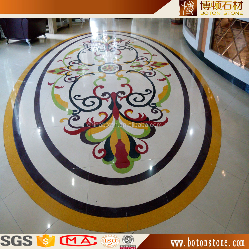 wholesale waterjet cutting round marble mosaic mural pattern