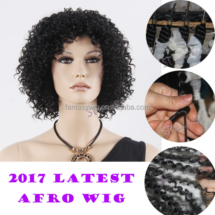 Wholesale short curly afro kinky hair synthetic wigs for black women