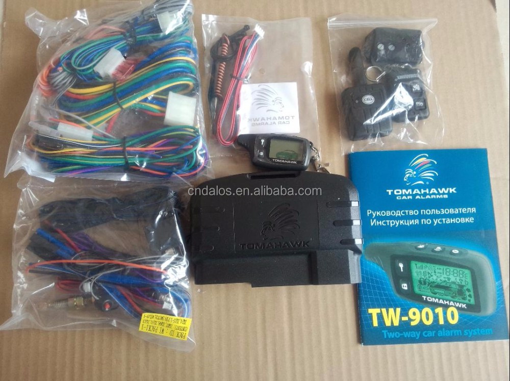 Two Way LCD Screen Remote Engine Starter Tomahawk Car Alarm with Russia and English manual, TW9010 Pager Car Alarm