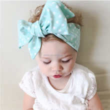 Hot Sale Fancy 100% Cotton Cute Baby Girls Fabric Flower Hair Accessories Big Bow DIY Knot <strong>Headbands</strong>