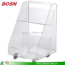 Stylish Design Acrylic Book Stand With Wheel