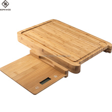 2017 high quality bamboo wood cutting board digital kitchen scale with removable food electronic kitchen scale