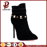 Black and metal decoration women winter brand name high heel boots wholesale