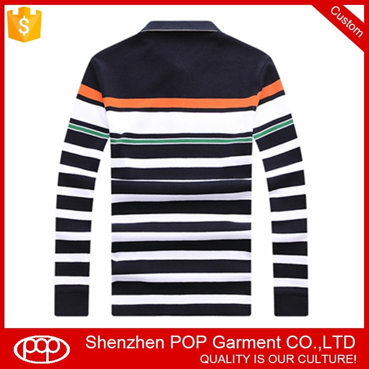 plain slim fit stretch long sleeve wholesale striped polo shirts for men 100% cotton