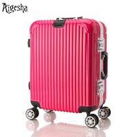 Pink and red light weight fashion design girls luggage