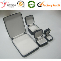 China packing box supplier cloth leather zipper jewelry packaging case box for various use ring/necklace/bangle/watch