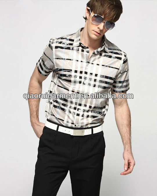 Slim fit new fashion 100% cotton high quality checked casual business short sleeve shirt for men