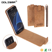 2016 Wholesale Flip Natural Bark Leather Phone Cover Case / Card Slot Universal Case for Samsung Galaxy S7 Case 5.1 Inch Phone