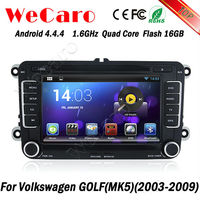 Hot selling Capacitive screen android 4.4 car dvd for vw golf 5 2009 GPS Navigation With bluetooth DVD Mirror Screen function