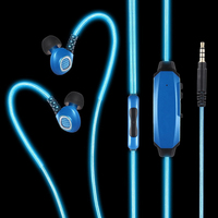 EL LED visible light glowing headphones, Waterproof noise cancelling earphones for iPhone6s and Android smartphones, MP3 player