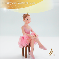 Pink Resin Ballerina Christmas Hanging Ornament