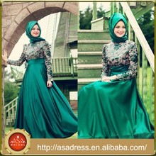 ATE15 Fashion Green Lace Appliqued Ankle Length Elegant Long Sleeve Hijab Evening Dress for Muslim Women