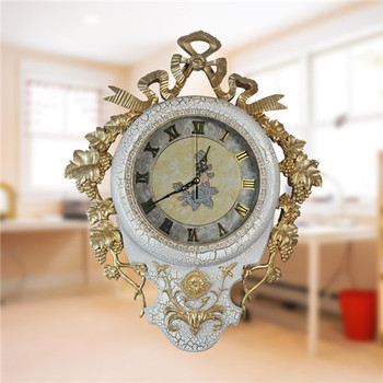 European High-Quality Grapes Gilt Edge Decorative Wall Clock
