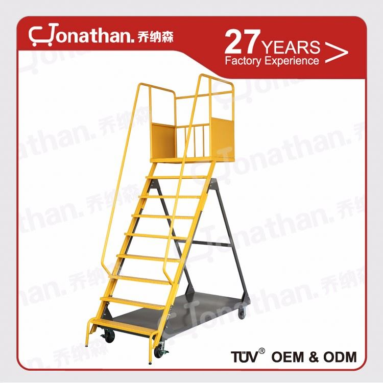 Warehouse durable step moving ladder with wheels