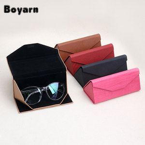 1 PC Light Triangular Fold Glasses Case Eyeglass Sunglasses Protector Box Custom logo F32