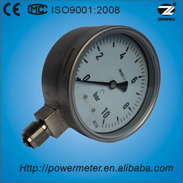 "100mm 4"" low pressure all stainless steel bourdon tube en837-1 wika pressure guage manometer"