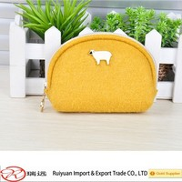 2015 Popular Design Young Girl Attractive Felt Coin Purse with Zipper