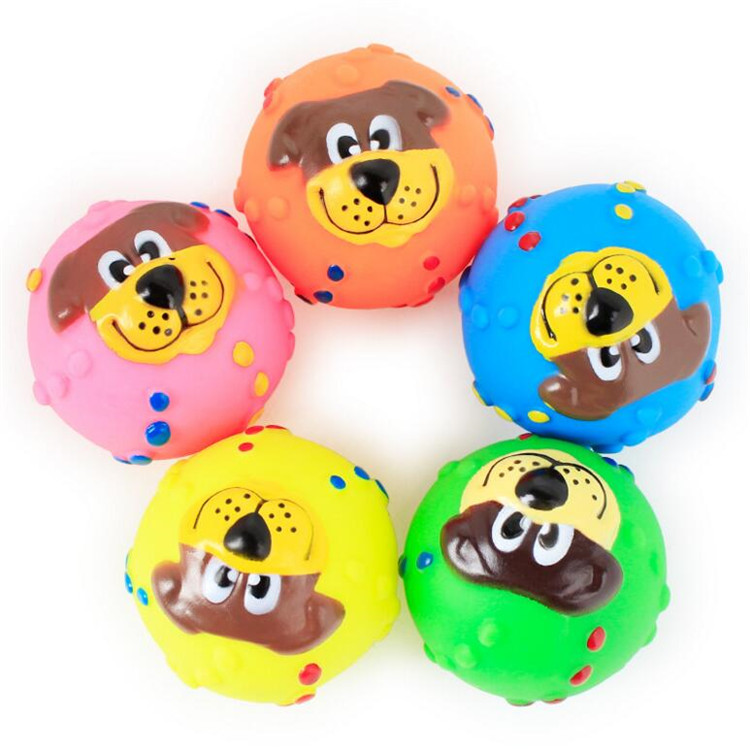 New Funny Vinyl Dog Face Ball Sound Training Toy Pet Chew Ball
