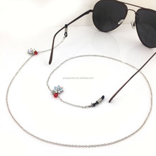 GL192 black rubber head end shiny irridscent flower red crystal glasses chain strap