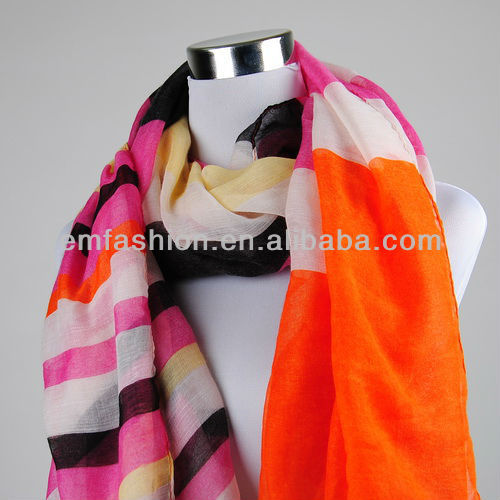 Fashion Women Multicolor Strip Rainbow Print Voile <strong>Scarf</strong>